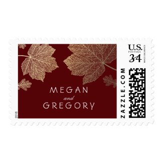 Gold Leaves Burgundy Fall Wedding Postage Stamps at UniqueRusticWeddingInvitations.com