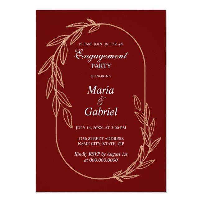 Gold leaves. Elegant frame. Red Engagement Party Invitation