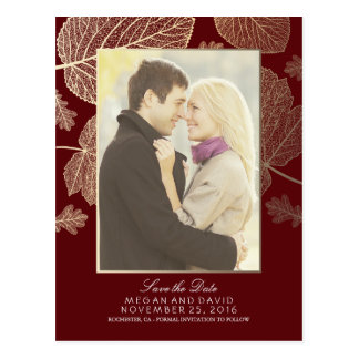 Gold Leaves Fall Burgundy Photo Save the Date Postcard