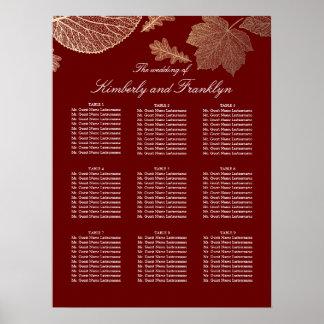 Gold Leaves Fall Burgundy Wedding Seating Chart