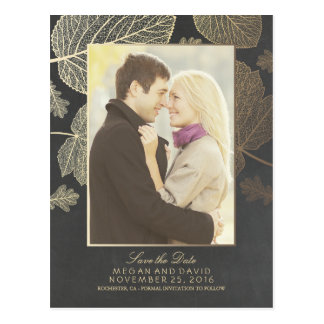 Gold Leaves Fall Photo Save the Date Postcard