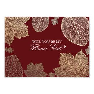 Gold Leaves Fall Wedding Flower Girl Invitation