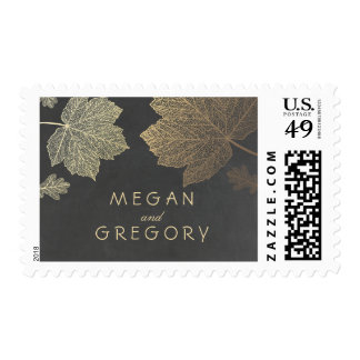 Gold Leaves Fall Wedding Postage