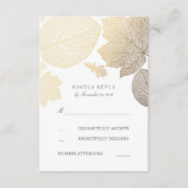 Gold Leaves Fall Wedding RSVP Cards
