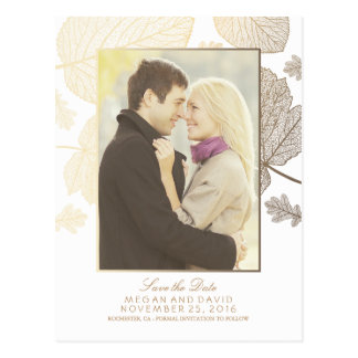 Gold Leaves Fall White Photo Save the Date Postcard