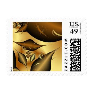 Gold Leaves Fractals Postage