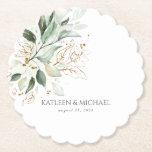"Gold Leaves Greenery Boho Summer Paper Coaster<br><div class=""desc"">Beautiful greenery coasters</div>"