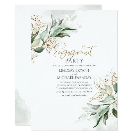 Gold Leaves Greenery Elegant Engagement Party Invitation