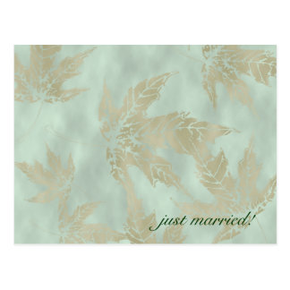 Gold Leaves In Green Marriage Announcement Postcard