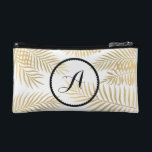 "Gold Leaves Initials Makeup Bag<br><div class=""desc"">Gold leaves initials monogram cosmetic bag</div>"