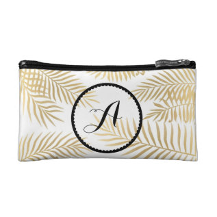 Gold Leaves Initials Makeup Bag at Zazzle