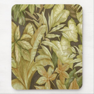 Gold Leaves On Black Mouse Pad