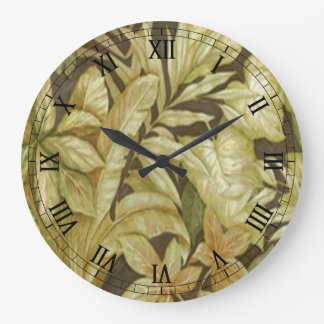 Gold Leaves On Black Round Roman Numerals Clock