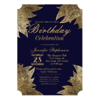 Gold Leaves on Navy Blue Birthday Party Invitation