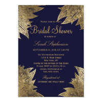 Gold Leaves on Navy Blue Bridal Shower Invitations
