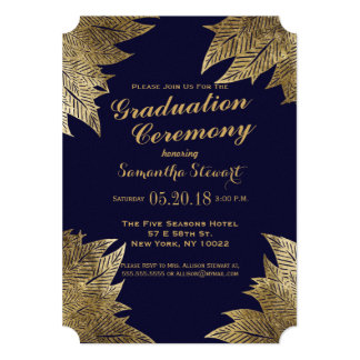 Gold Leaves on Navy Blue Graduation Ceremony Card