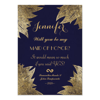 Gold Leaves on Navy Blue Maid of Honor Invitations