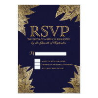 Gold Leaves on Navy Blue RSVP Cards