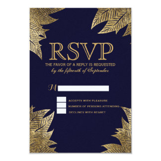 Gold Leaves on Navy Blue RSVP Cards