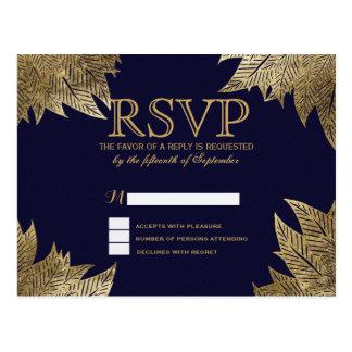 Gold Leaves on Navy Blue RSVP Postcards