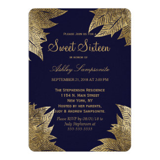 Gold Leaves on Navy Blue Sweet 16 Invitations