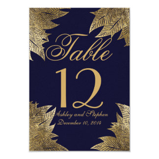 Gold Leaves on Navy Blue Table Numbers Card