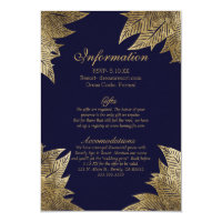 Gold Leaves on Navy Blue Wedding Information Card