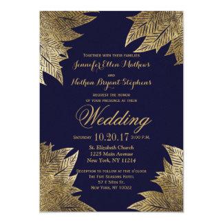 Gold Leaves On Navy Blue Wedding Invitations