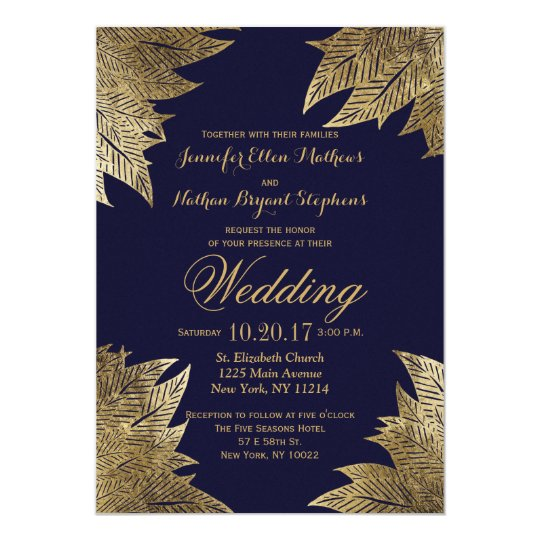 Navy Blue And Gold Wedding Invitations: Gold Leaves On Navy Blue Wedding Invitations