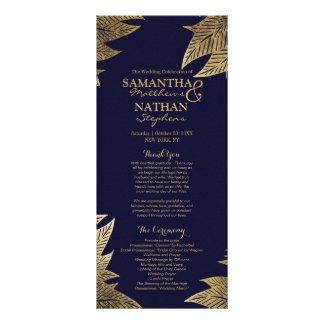 Gold Leaves on Navy Blue Wedding Programs
