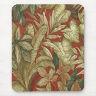Gold Leaves On Red Mouse Pad