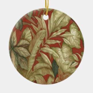 Gold Leaves On Red Ornament