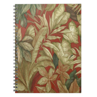 Gold Leaves On Red Spiral Notebook