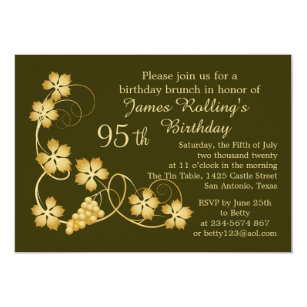 Gold Leaves On Vine Your Background 95th Birthday Invitation