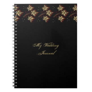 Gold Leaves Rust Colored Accent Wedding Journal Note Book