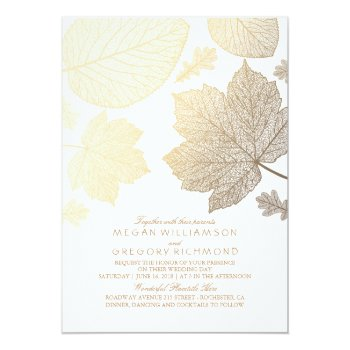 Gold Leaves Vintage Elegant Fall Wedding Card by jinaiji at Zazzle