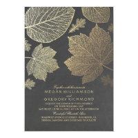 Gold Leaves Vintage Rustic Fall Wedding Invitation