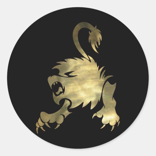 Gold Leo Lion Classic Round Sticker