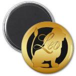 GOLD LEO ZODIAC SIGN 2 INCH ROUND MAGNET