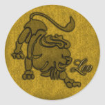 GOLD LEO ZODIAC SIGN CLASSIC ROUND STICKER