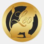 GOLD LEO ZODIAC SIGN ROUND STICKER