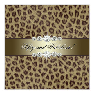 Gold Leopard 50th Birthday Party Invitations