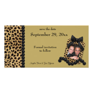 Gold Leopard And Black Pearls Save The Date Card