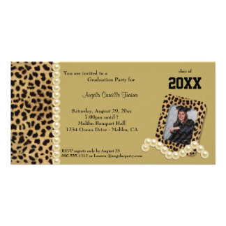 Gold Leopard And Matching Pearls  Invitation