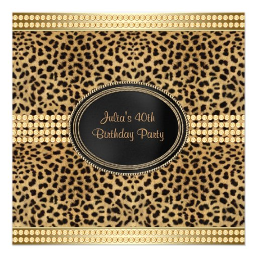 Gold Leopard Birthday Party Personalized Invites