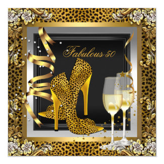 Gold Leopard Black High Heels Shoes Birthday Card