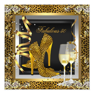 Gold Leopard Black High Heels Shoes Birthday Custom Invitations