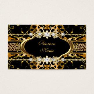 Gold Leopard Black Jewel Look Image Business Card