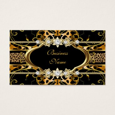 Professional Business Gold Leopard Black Jewel Look Image Business Card