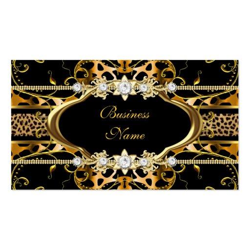 Gold Leopard Black Jewel Look Image Business Cards